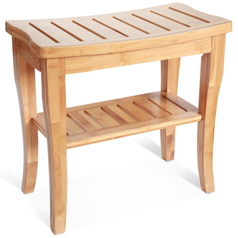 Amazon Com Deluxe Bamboo Shower Seat Bench With Storage Shelf Home Amp Kitchen Duschbank Kleines Bad Dekorieren Sitztruhe