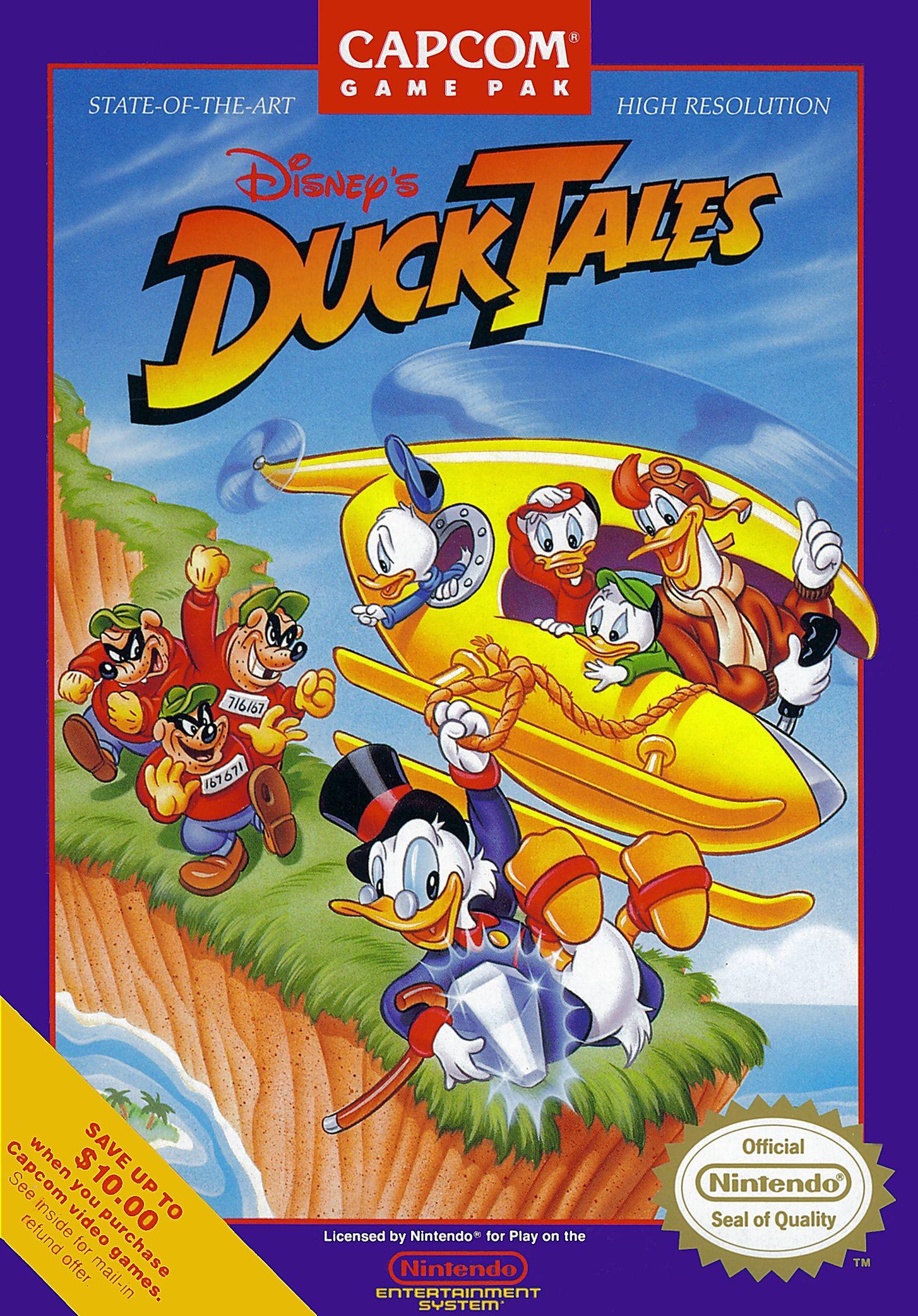 "Box art for classic platformer ""Duck Tales"
