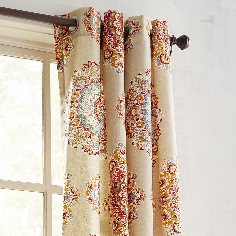 """Grommet Kitchen Curtains: Suzani Jewel 108"""" Grommet Curtain Orange"""