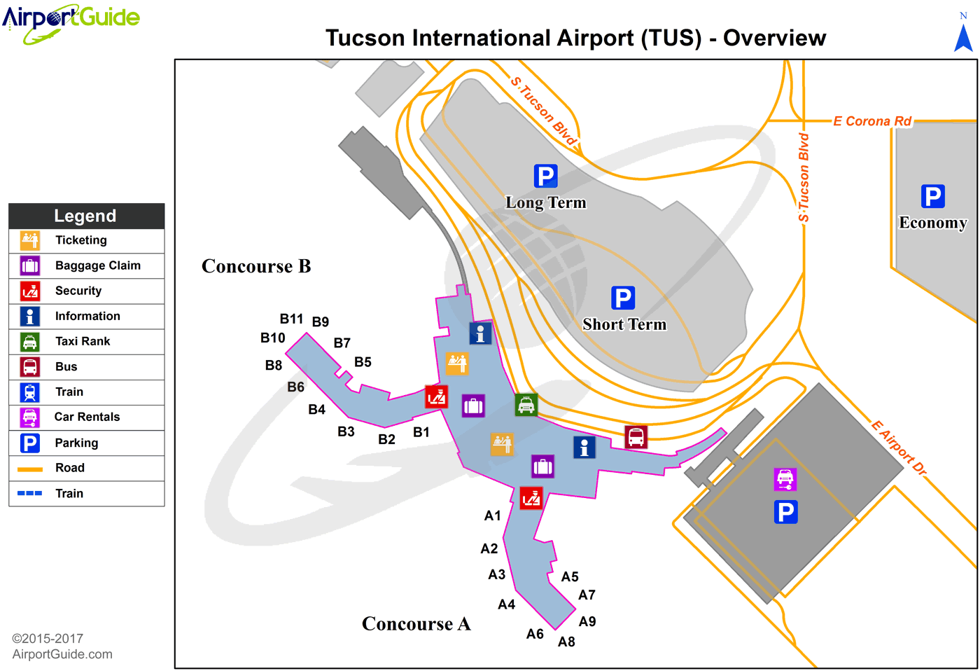 Tucson Tucson International Tus Airport Terminal Map