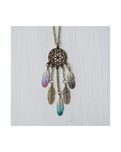 Women's Dream Catcher Necklace, Mulberry / Peacock / Black Ombre