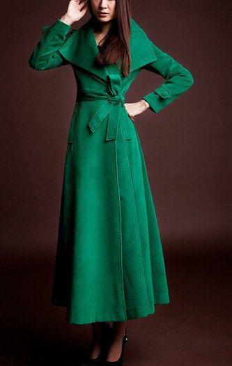 Camel/Green / Red / Black wool Jacket Women dress Autumn Winter ...