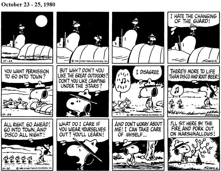 2. October 23, 1980 - Woodstock, Olivier, Bill, Conrad and Harriet go into town to party and drink root beer, leaving Snoopy all on his own.