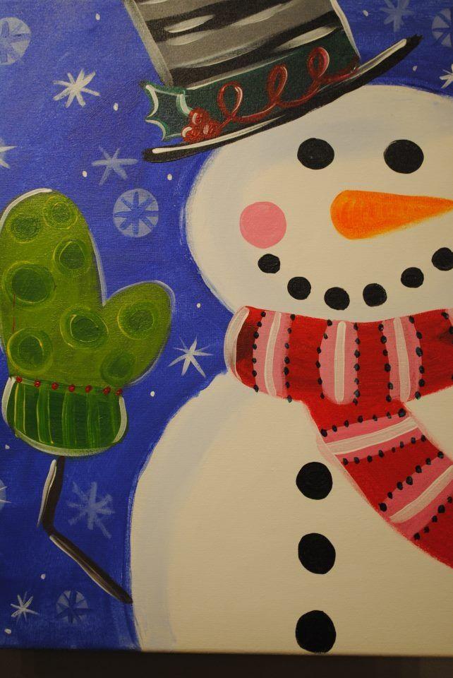 Christmas Painting On Canvas Ideas Snowman