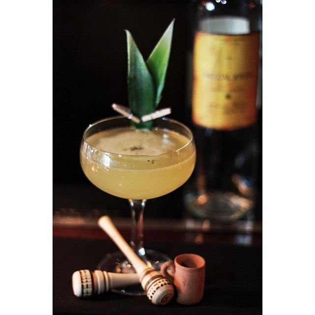 El Jaraliyo by Victor Robles from Arroyo Chop House in Pasadena, CA. It features #ilegalmezcal, pineapple and lime juices as well as a Ponche syrup.  #cocktails #mezcal