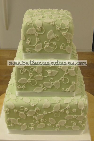 Sage Green, White Flowers By Cakepro on CakeCentral.com