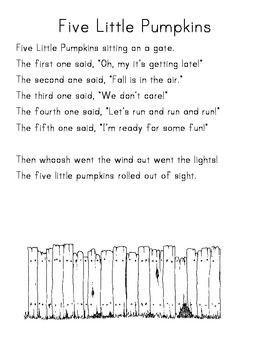 Five Little Pumpkins Sitting On A Gate Five Little Pumpkins