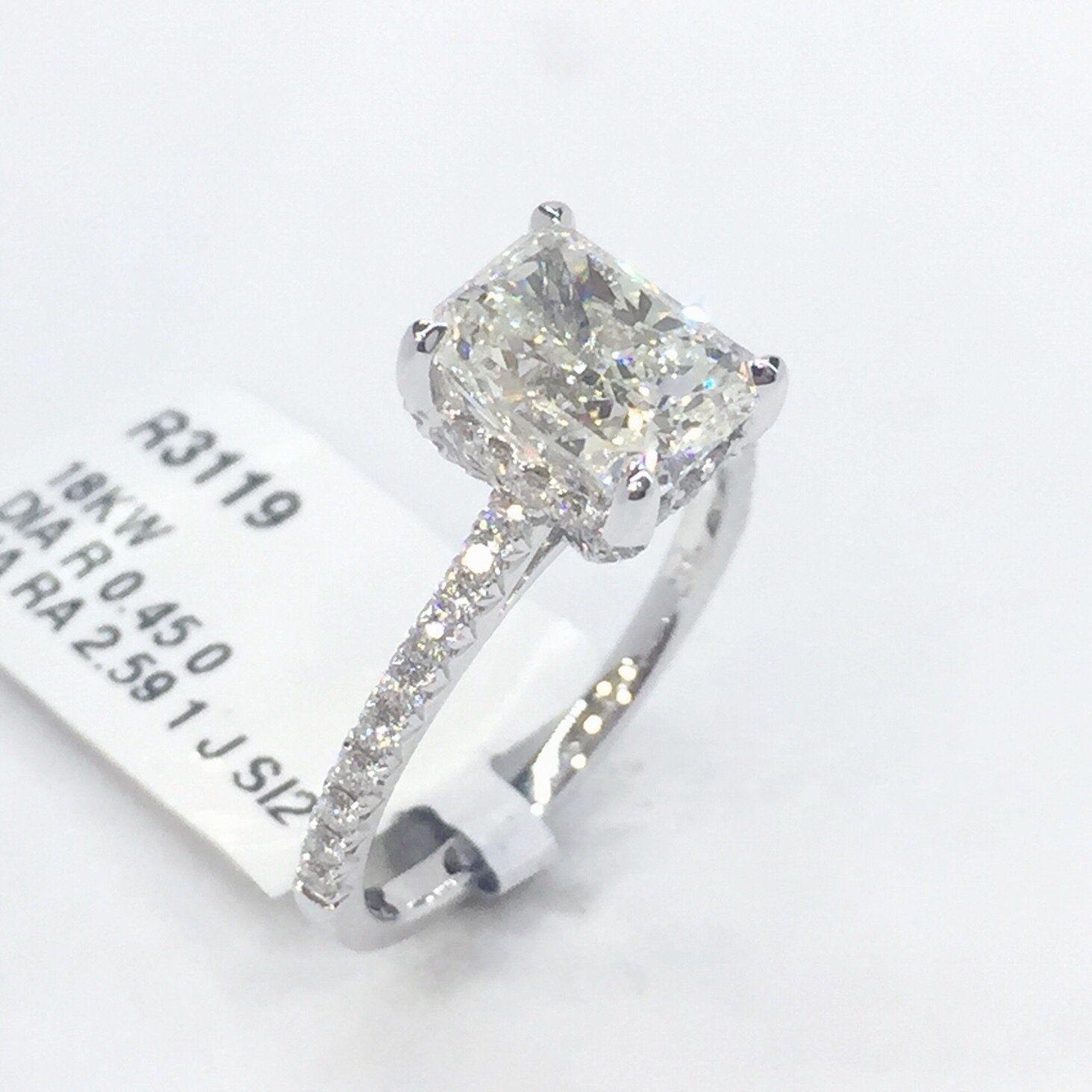 K white gold j si ct radiant cut solitare diamond engagement