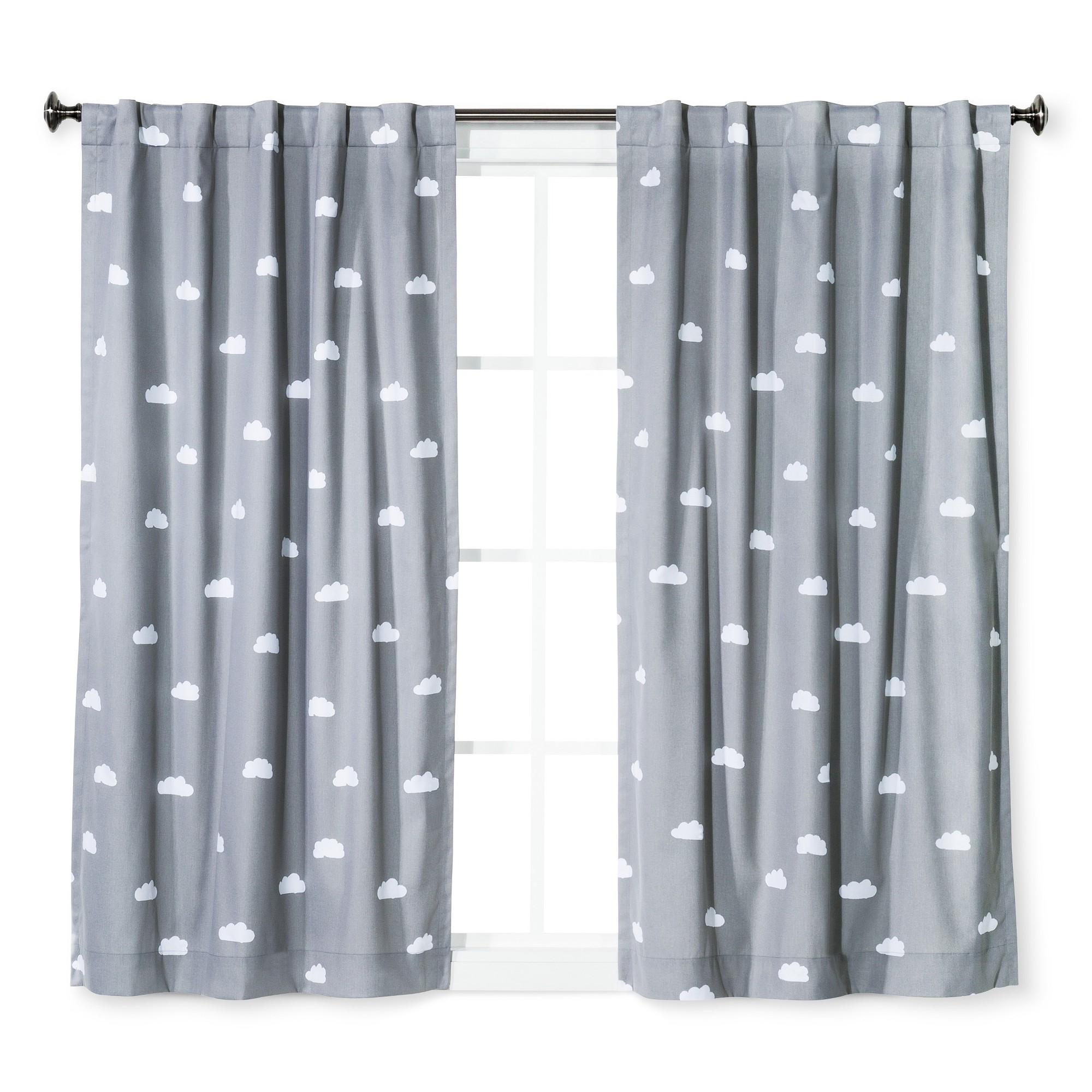 Cloud Print Twill Blackout Curtain Panel Light Gray
