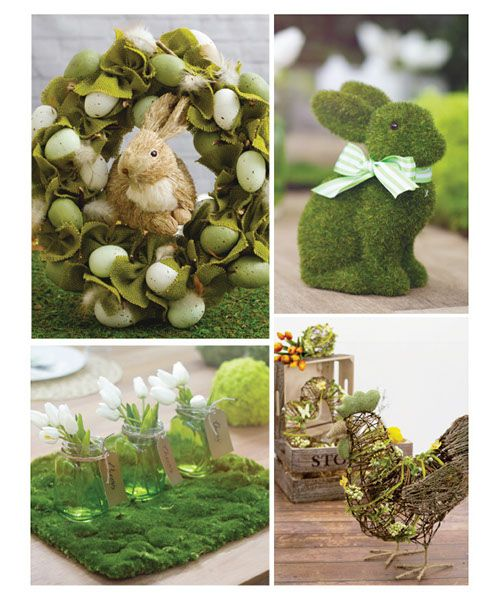 Easter decor artificial greenery and topiary
