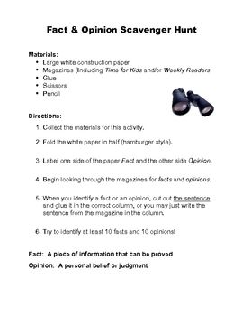 Fact And Opinion Scavenger Hunt Fact And Opinion Reading Facts Teaching Inspiration