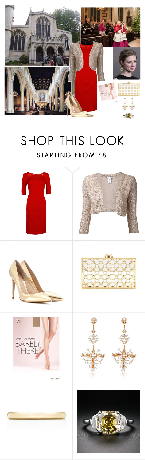 """""""Victoria attending a Christmas carol service at St Margaret's Church, Westminster in support of charitable foundations  for children"""" by immortal-longings ❤ liked on Polyvore featuring Blumarine, Oscar de la Renta, Gianvito Rossi, Charlotte Olympia, John Lewis, Fernando Jorge and Tiffany & Co."""