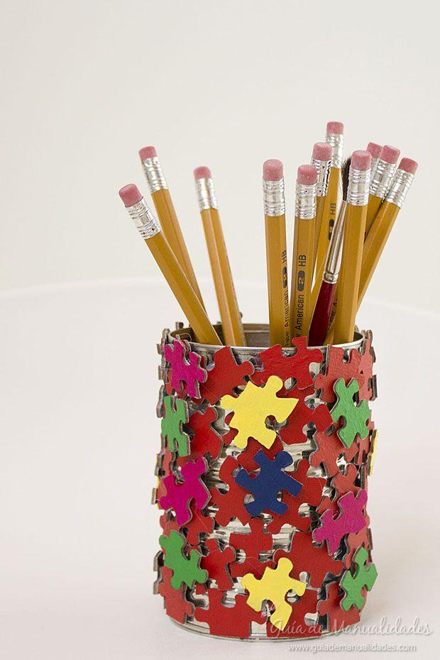Lapicero con piezas de puzzle ideas de taller guia de for Lapiceros reciclados manualidades