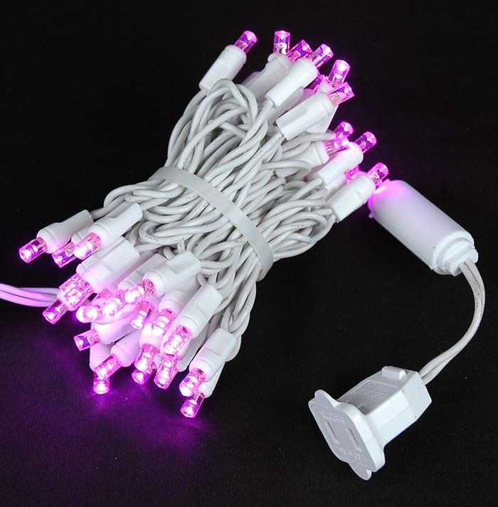 Show details for 50 LED Pink, White Wire LED Christmas Lights 11 ...