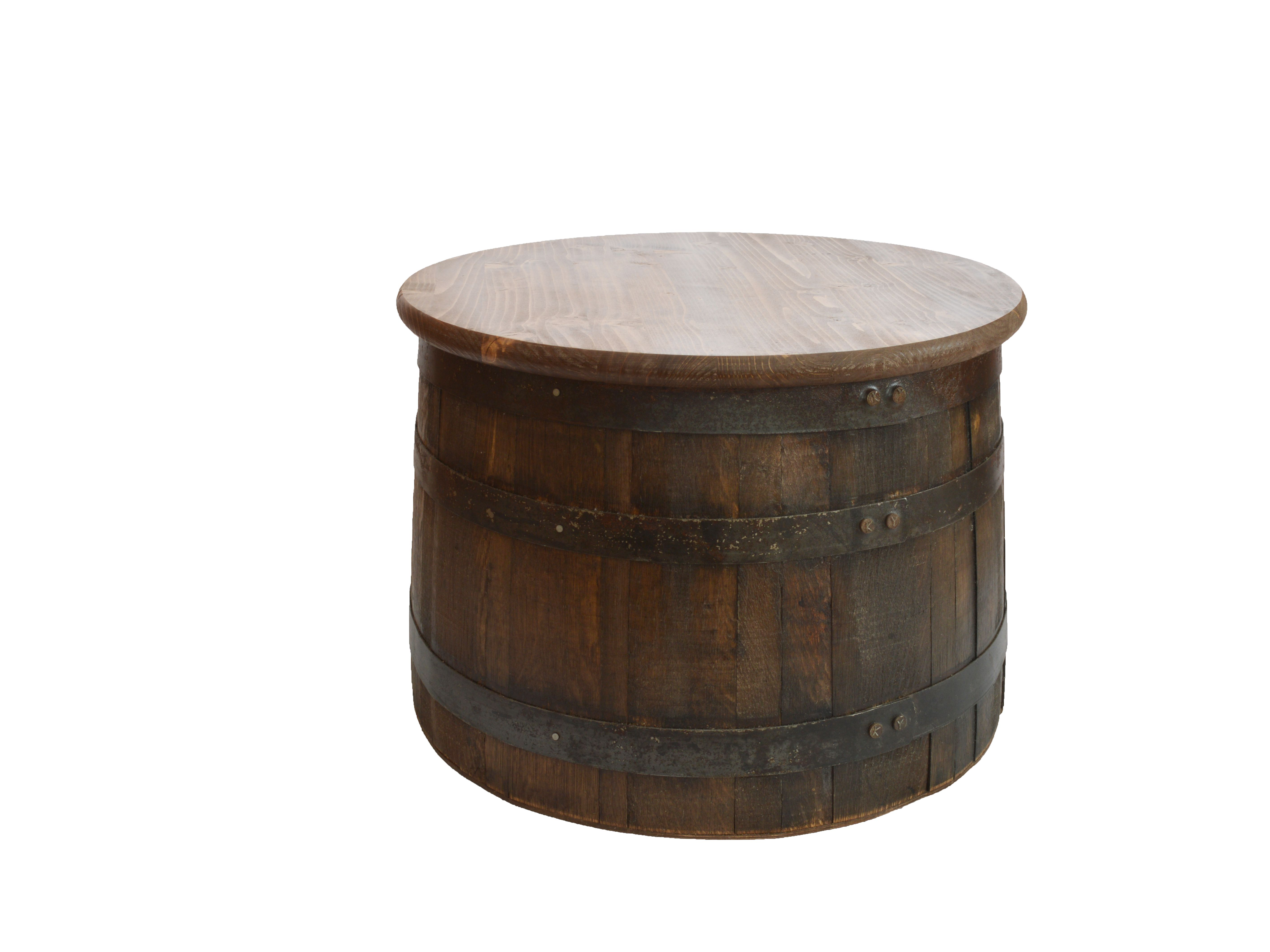 Half Whiskey Barrel Side Table With Lid Our Shop Pinterest
