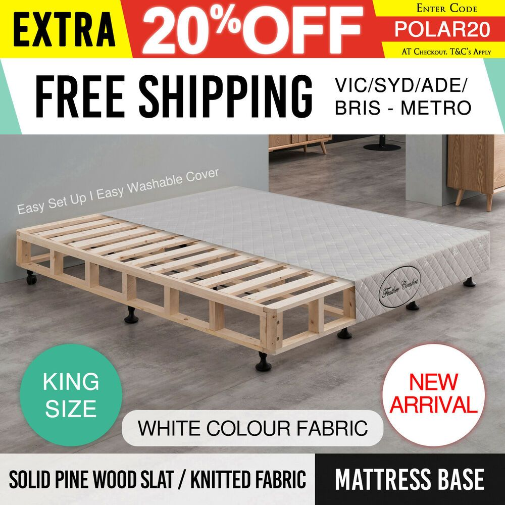 Mattress Bed Base King White Fabric Pine Wooden Kd Slat Frame