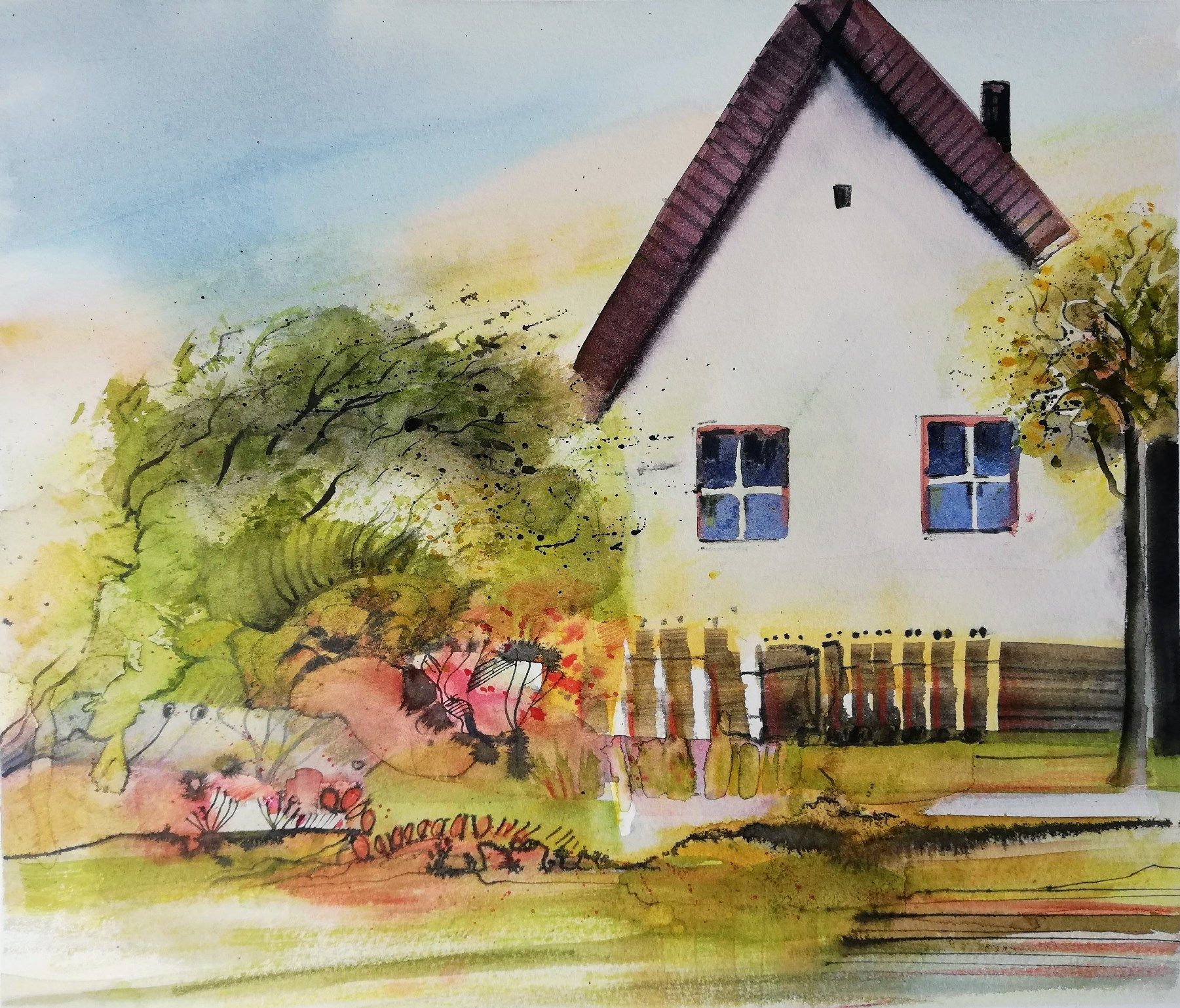 Biedermeier Aquarell Haus Und Garten Aquarell Aquarell Kunst Malerei