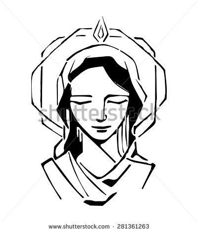 Hand drawn vector illustration or drawing of Virgin Mary at Pentecost  Biblical passage Nossa Senhora De 7fd54b5813948