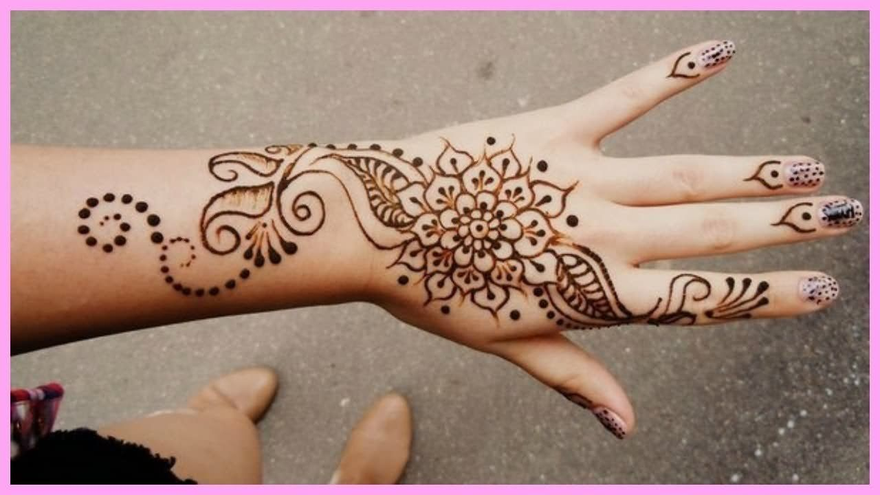 1f13aaffe0c59 Awesome Henna Tattoo On Girl Left Hand | tattoooossss | Simple hand ...