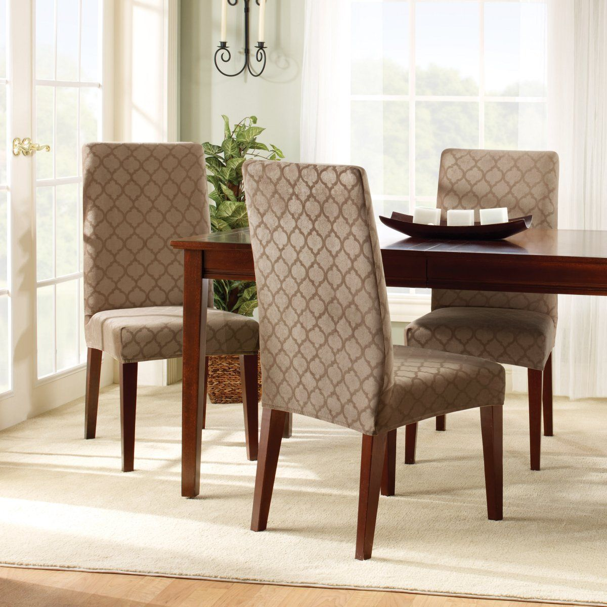 Dining Room Chair Covers With Wooden Table And Carpet  House Cool Covering Dining Room Chair Cushions 2018