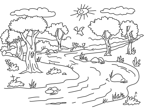 River Landscape Coloring Page From Forest Category Select From 29179 Printable Crafts Of Ca Coloring Pages Nature Free Printable Coloring Pages Coloring Pages