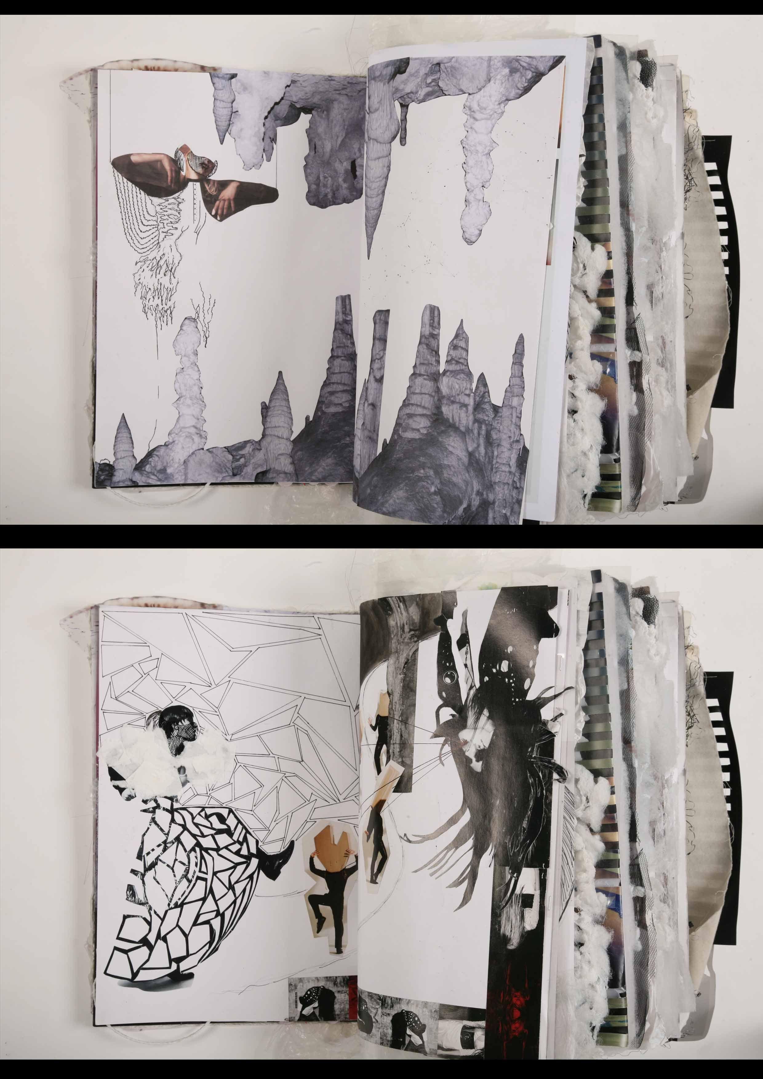 Sleep Paralysis Sketchbook Layout Fashion Design Sketchbook Collage Design