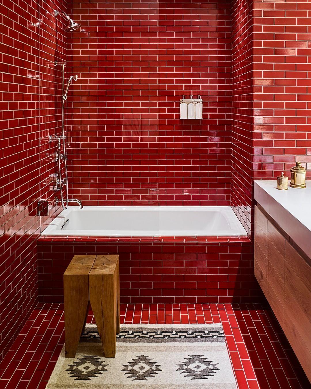 Image May Contain Indoor Bathroom Red Red Bathroom Decor Best Bathroom Tiles