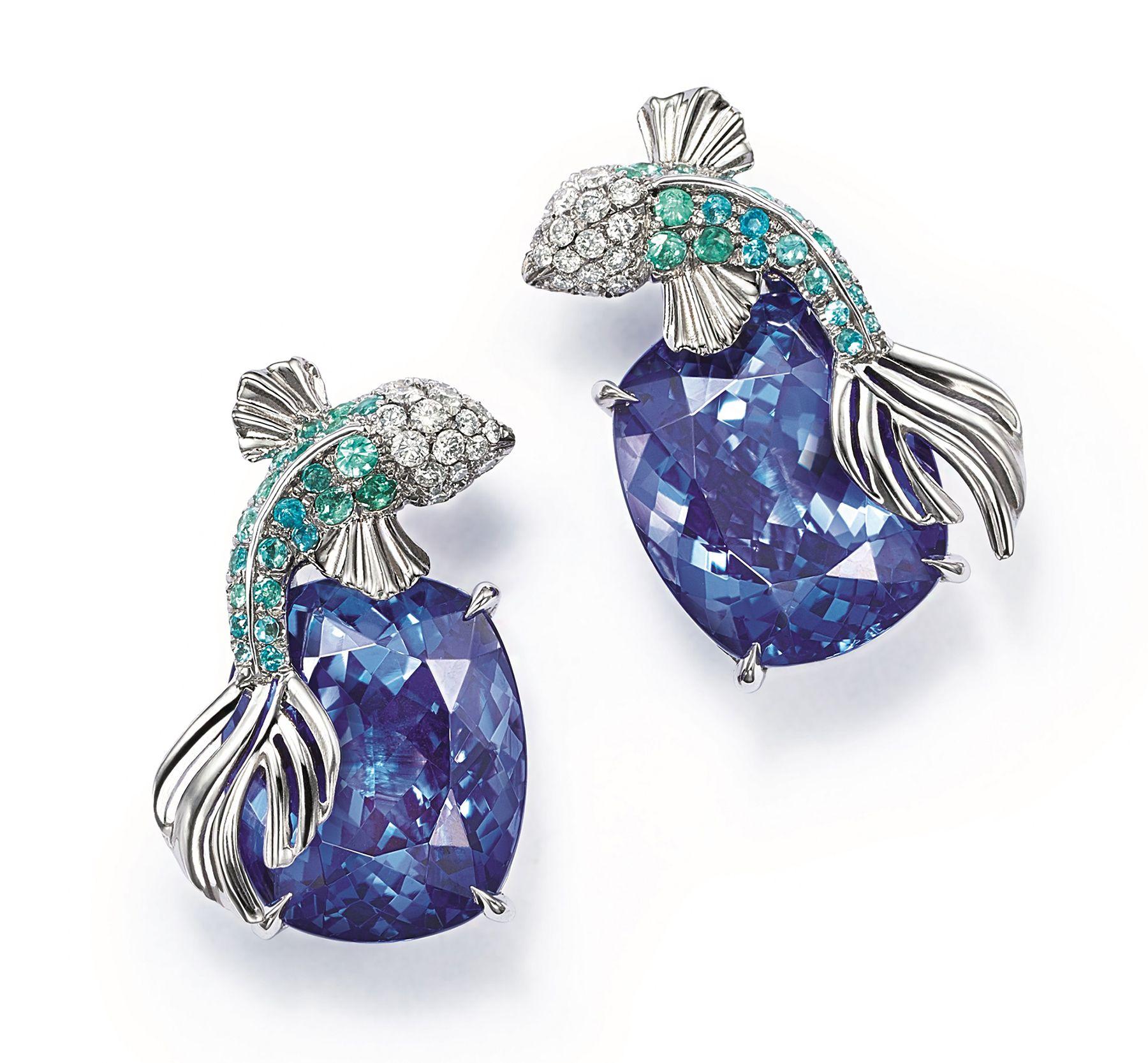 Tiffany Co Blue Book 2017 Tanzanite Marine Earrings