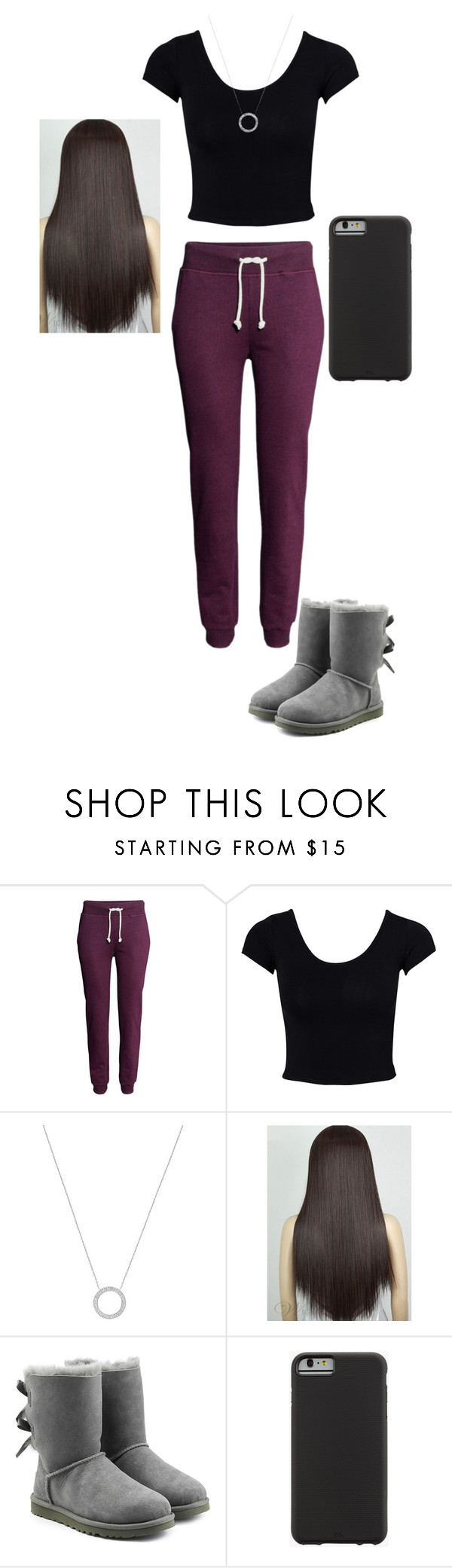 """""""just an outfit"""" by mell-rosee ❤ liked on Polyvore featuring H&M, Estradeur, Michael Kors, UGG Australia and Case-Mate"""