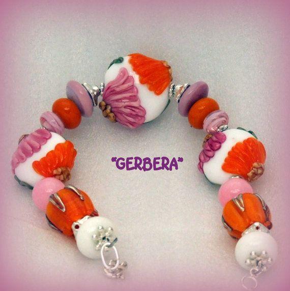GERBERA  Lampwork Bracelet.Pink Orange Green by ShelseeDesigns, $109.99