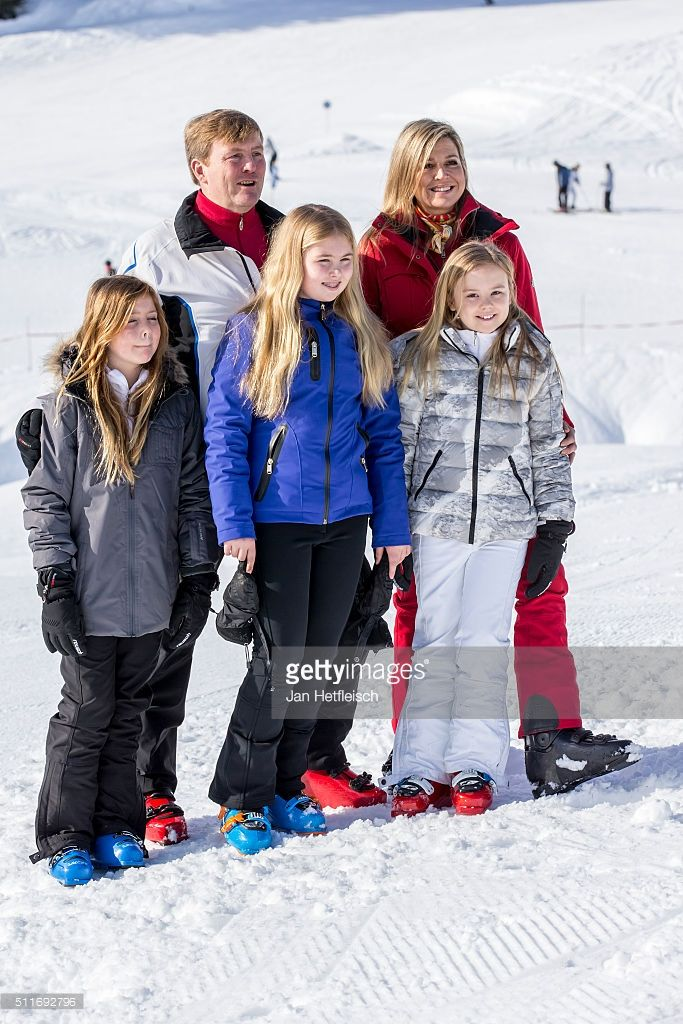 Princess Alexia, Dutch King Willem-Alexander, Princess Amalia, Queen Maxima and Princess Ariane pose for a picture during the annual photo call on February 22, 2016 in Lech, Austria.