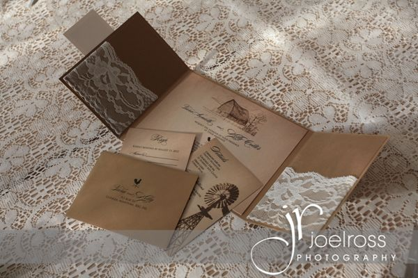Wedding Invitations Albuquerque: Rustic Country Wedding Invitations With Lace Pockets By