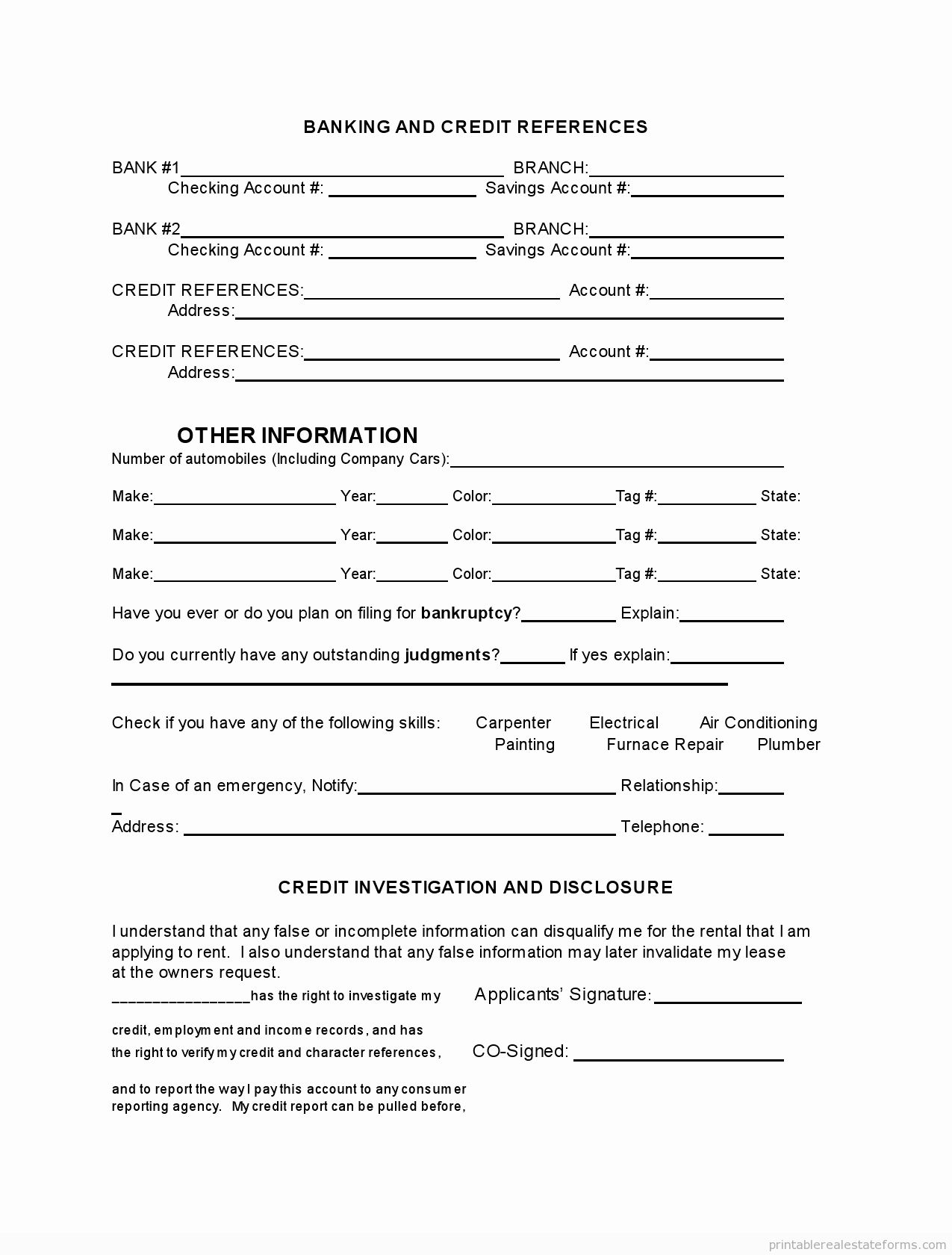 30 Tenant Information form Template in 2020 Rental
