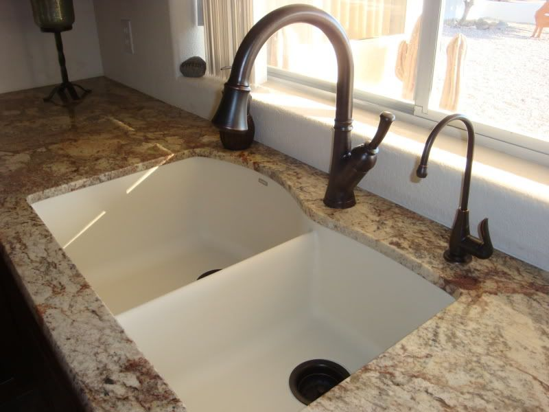Blanco Sink, Biscuit    This Look, Light Sink, Medium Toned Counters And  Dark Faucet. Super Classy And Rich Looking