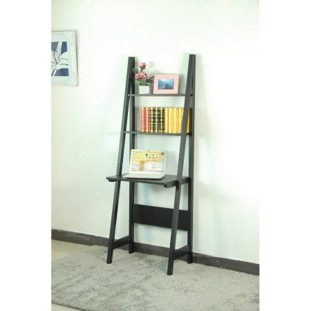 Magari Leaning Shelf Bookcase Desk Black
