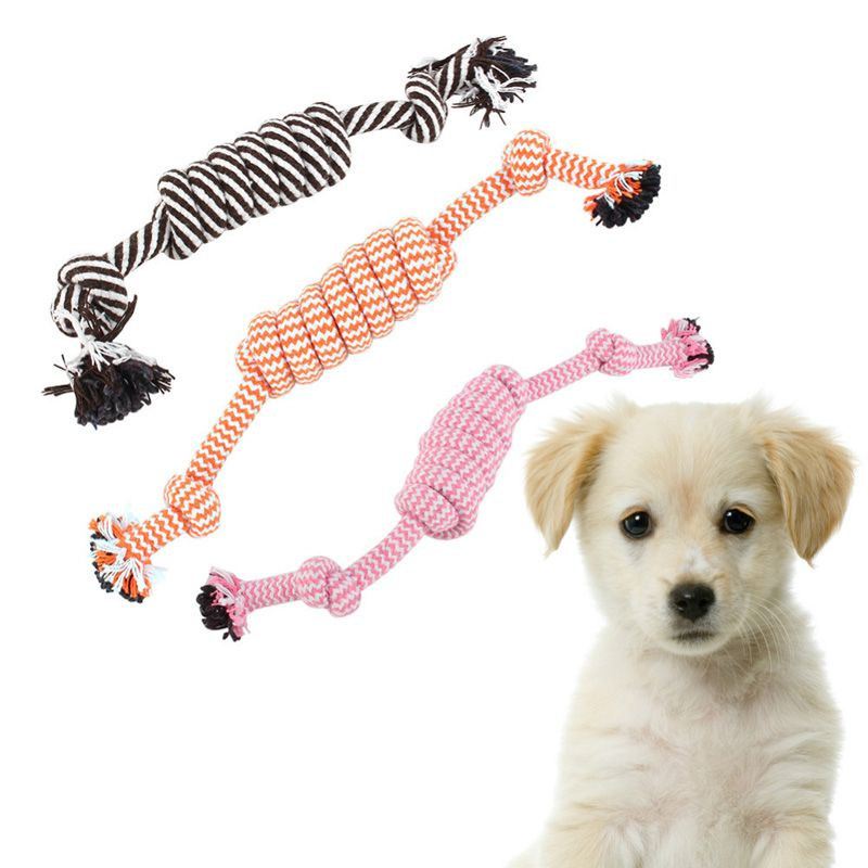 Rope Dog Toy For Puppies Cotton Braide Rope With Knot Pets At Home Dog Toys Chew Eco Friendly Random Color New Pet Toys Pets Dog Toys