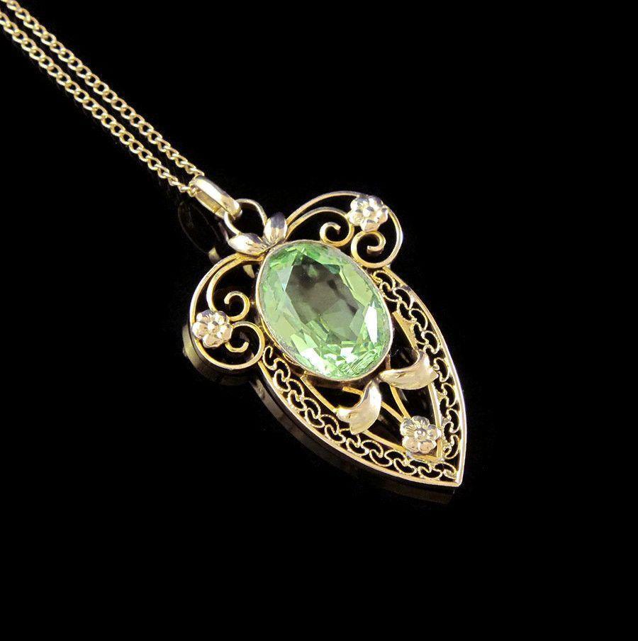 Antique Edwardian Pendant Necklace Antique 10k Gold Necklace Filigree Antique Pendant 1910s Green Peridot Edwardian Jewelry Edwardian Pendants Antique Pendant