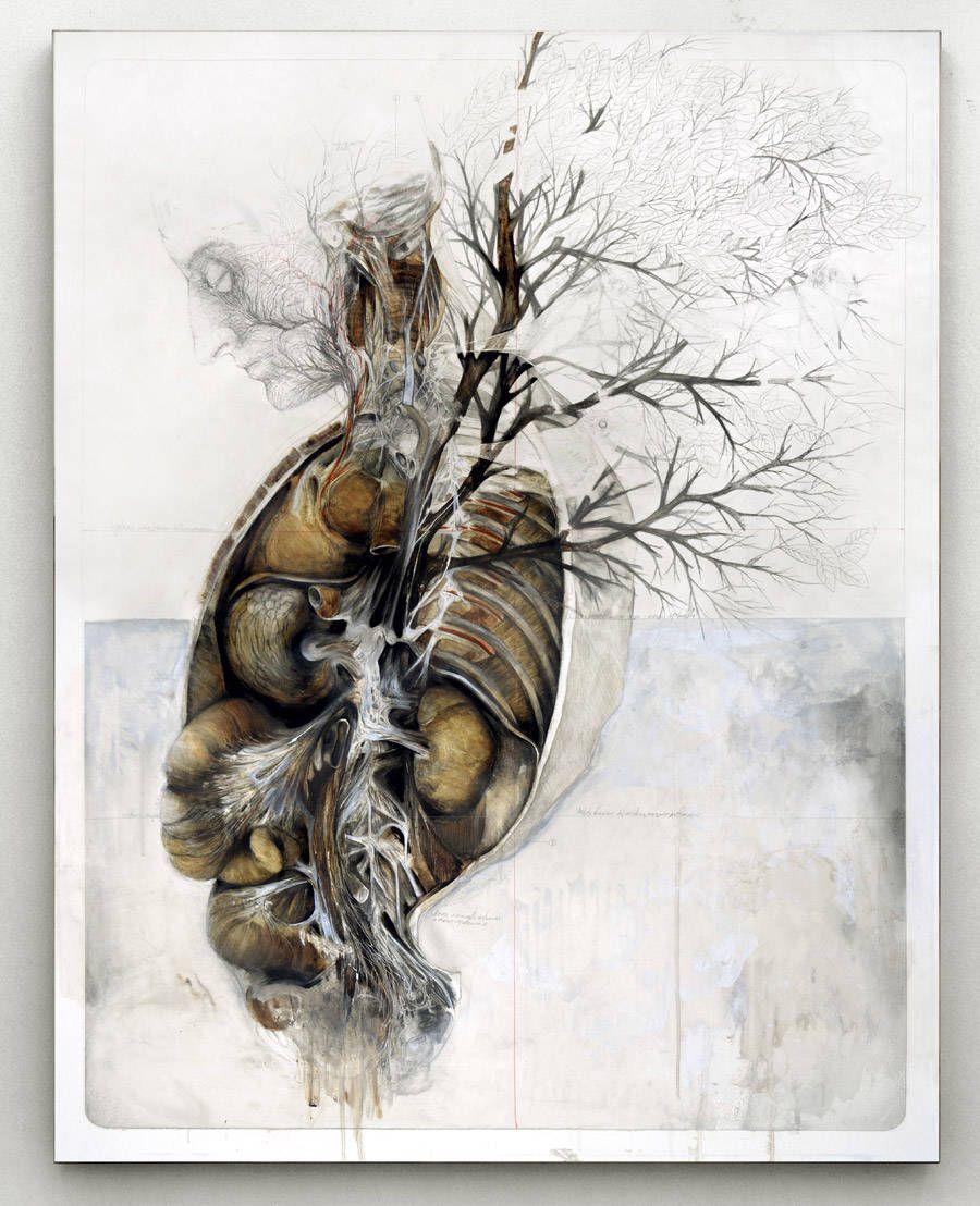 Cet artiste italien explore avec ces tableaux la subtilité du corps ...