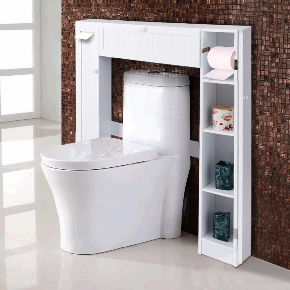 Buy giantex wooden white shelf over the toilet storage cabinet drop