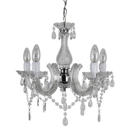 5 Light Leaf And Crystal Ceiling Fitting Dunelm Chandelier