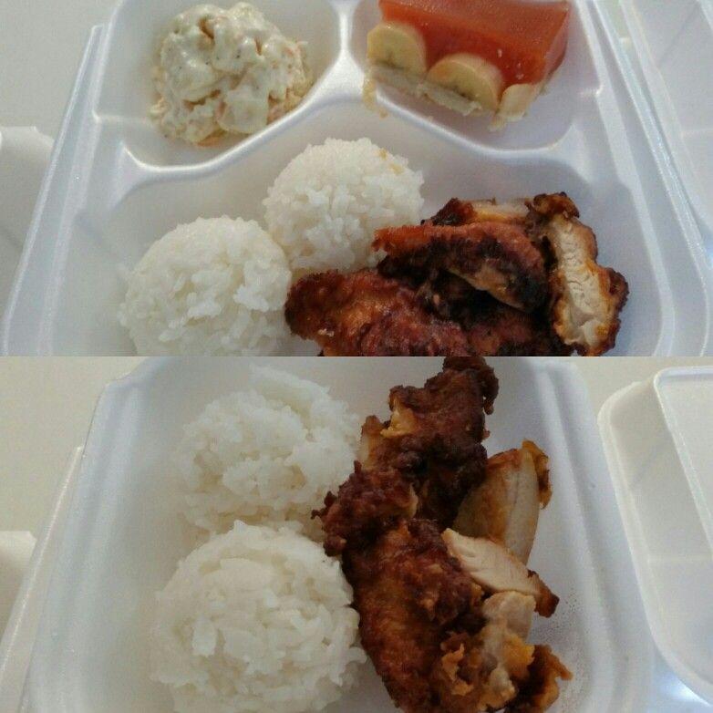 Korean style mochiko chicken rice potato mac salad and