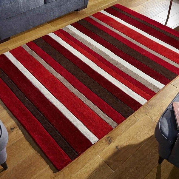 Jazz Stripes Wool Rugs In Red Online From The Rug Er Uk