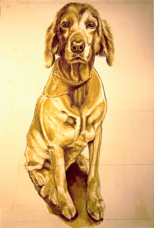 Full Body Pet Portrait in Realistic Style Black art