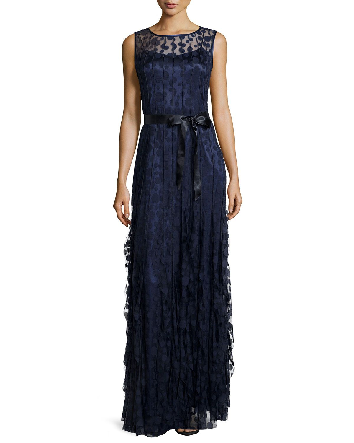 Neiman marcus dresses for weddings  Pintucked Lace Sleeveless Gown Navy Size   Rickie Freeman for