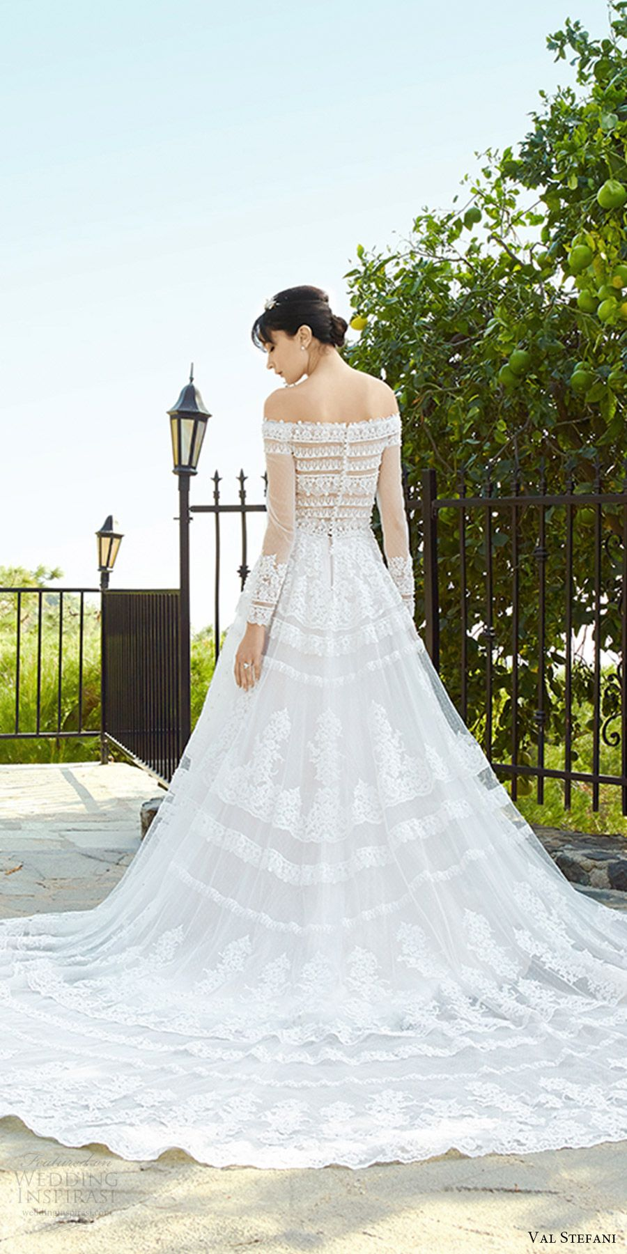 Val stefani fall wedding dresses cathedral train lace