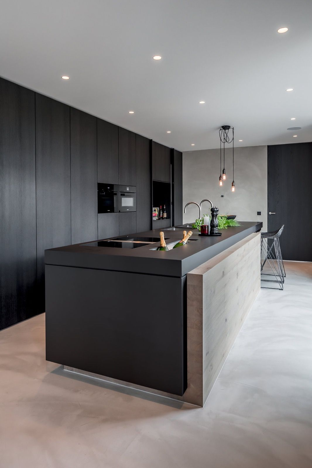 Island inspiration black kitchen with feature panel stunning