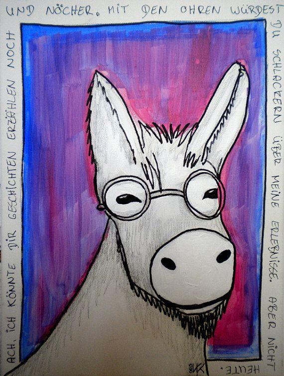 Plauderesel Original Unikat Mixed Media auf Baumwolle auf von VauKa #original #art #donkey #originalart #painting #esel #malerei #originalkunst #kunst #illustration #blau blue #grau #grey #pink