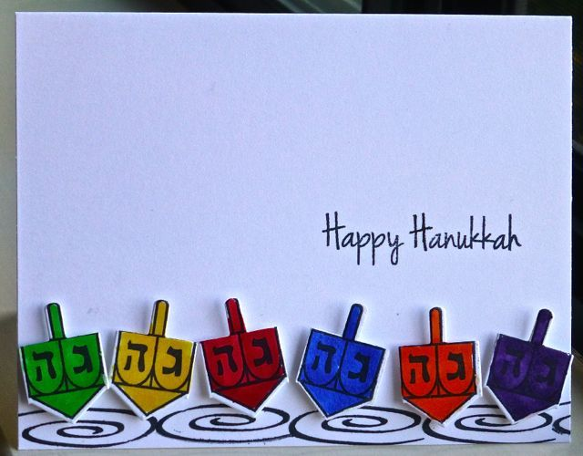Hanukkah dreidels 6 casual fridays 8 happy nights papertrey inks ic469 happy hanukkah by hskelly cards and paper crafts at splitcoaststampers m4hsunfo