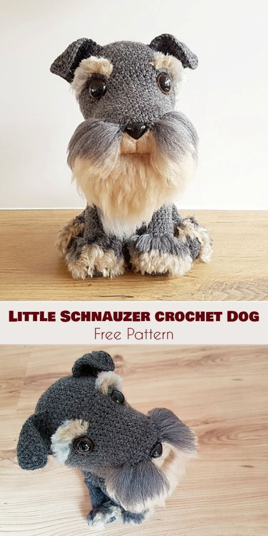 Little Schnauzer Crochet Dog [Free Pattern] | Crochet . | Pinterest ...