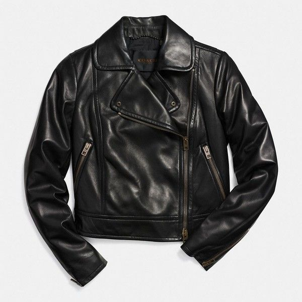 Coach Leather Moto Jacket (705 AUD) ❤ liked on Polyvore featuring outerwear, jackets, black, lightweight leather jacket, real leather jacket, leather motorcycle jacket, black lightweight jacket and heavy leather jacket